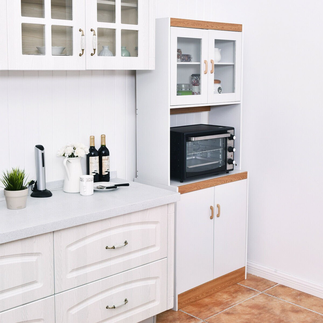 tall shelves microwave cart stand kitchen storage cabinet hw56197