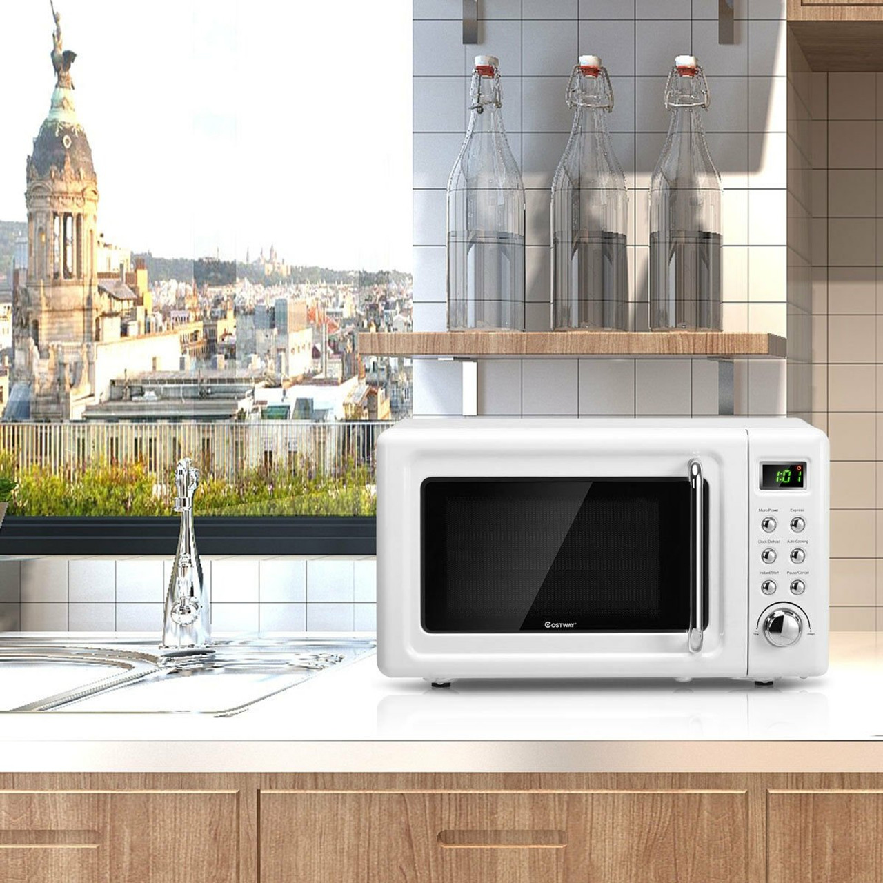 700w glass turntable retro countertop microwave oven white ep23853wh