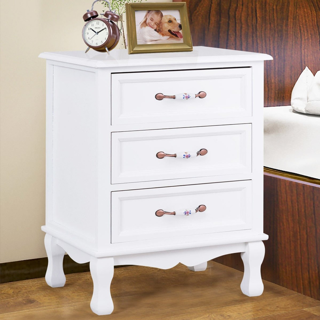 storage solid wood end nightstand w 3 drawers white hw56006wh