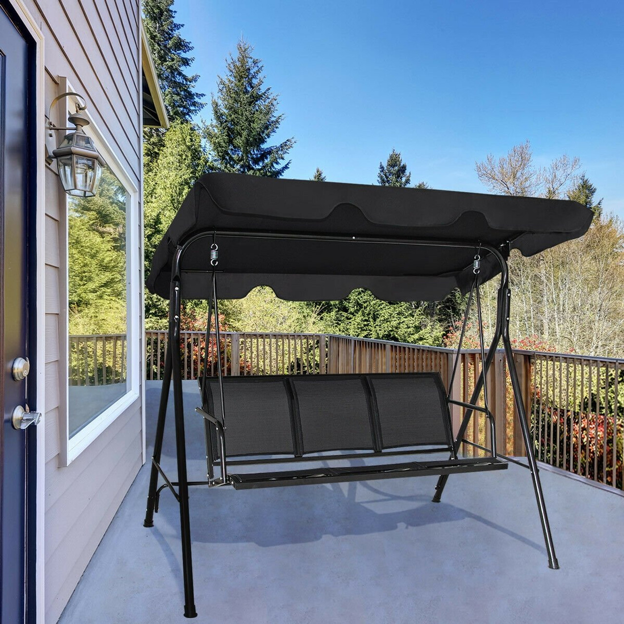 outdoor patio swing canopy 3 person canopy swing chair black op3192bk