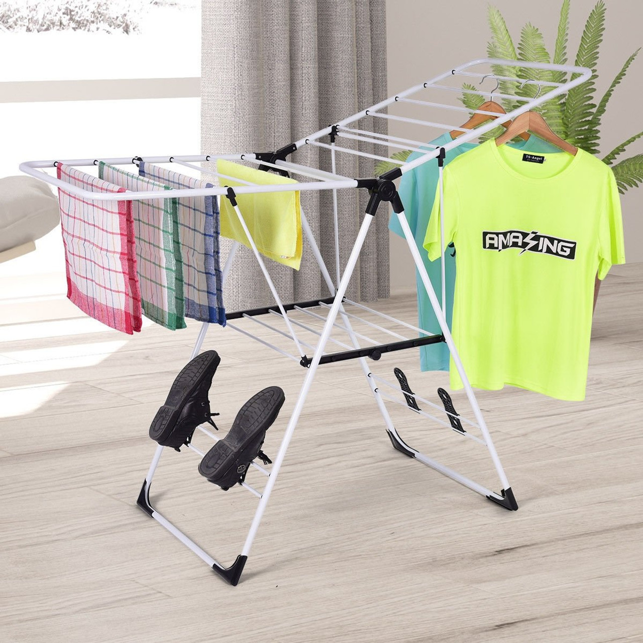 white portable laundry clothes storage drying rack hw53986
