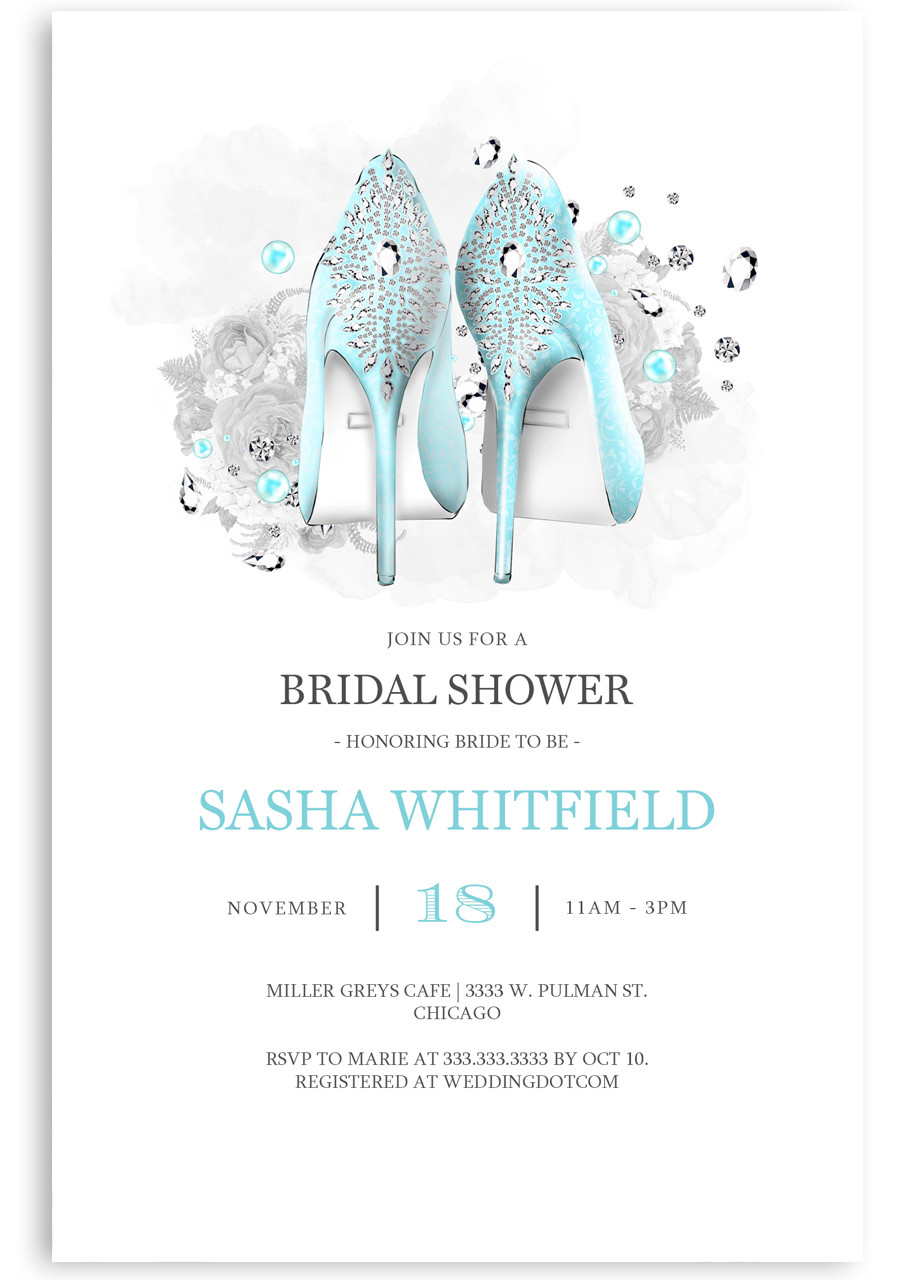 While the wedding cake might take more consideration, the bridal shower cake is something th. Bridal Shower Invitation Tiffany Blue Stiletto Heel Invitation