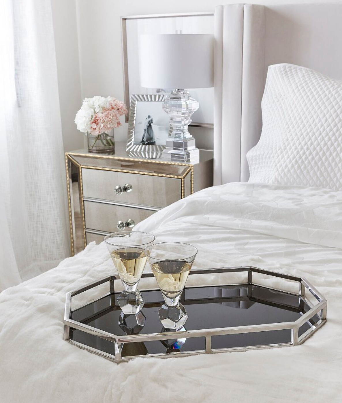 Gold Beads Mirrored Bedside Table Nightstand Mirror Furniture Packages