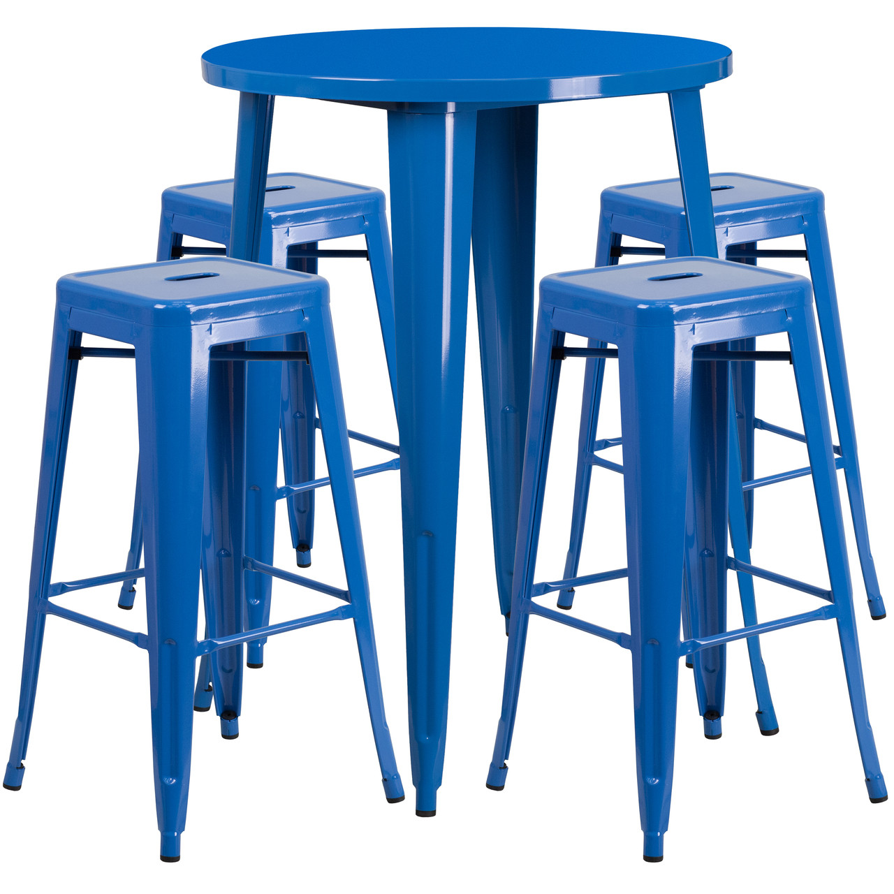 flash furniture 30 round blue metal indoor outdoor bar table set with 4 square seat backless stools
