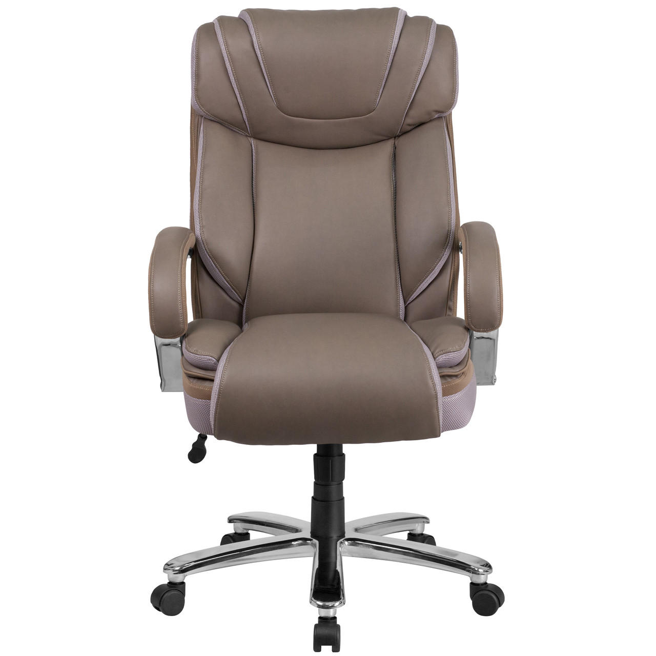 Flash Furniture Hercules Series Big Tall 500 Lb Rated Taupe Leather Executive Swivel Ergonomic Office Chair With Extra Wide Seat