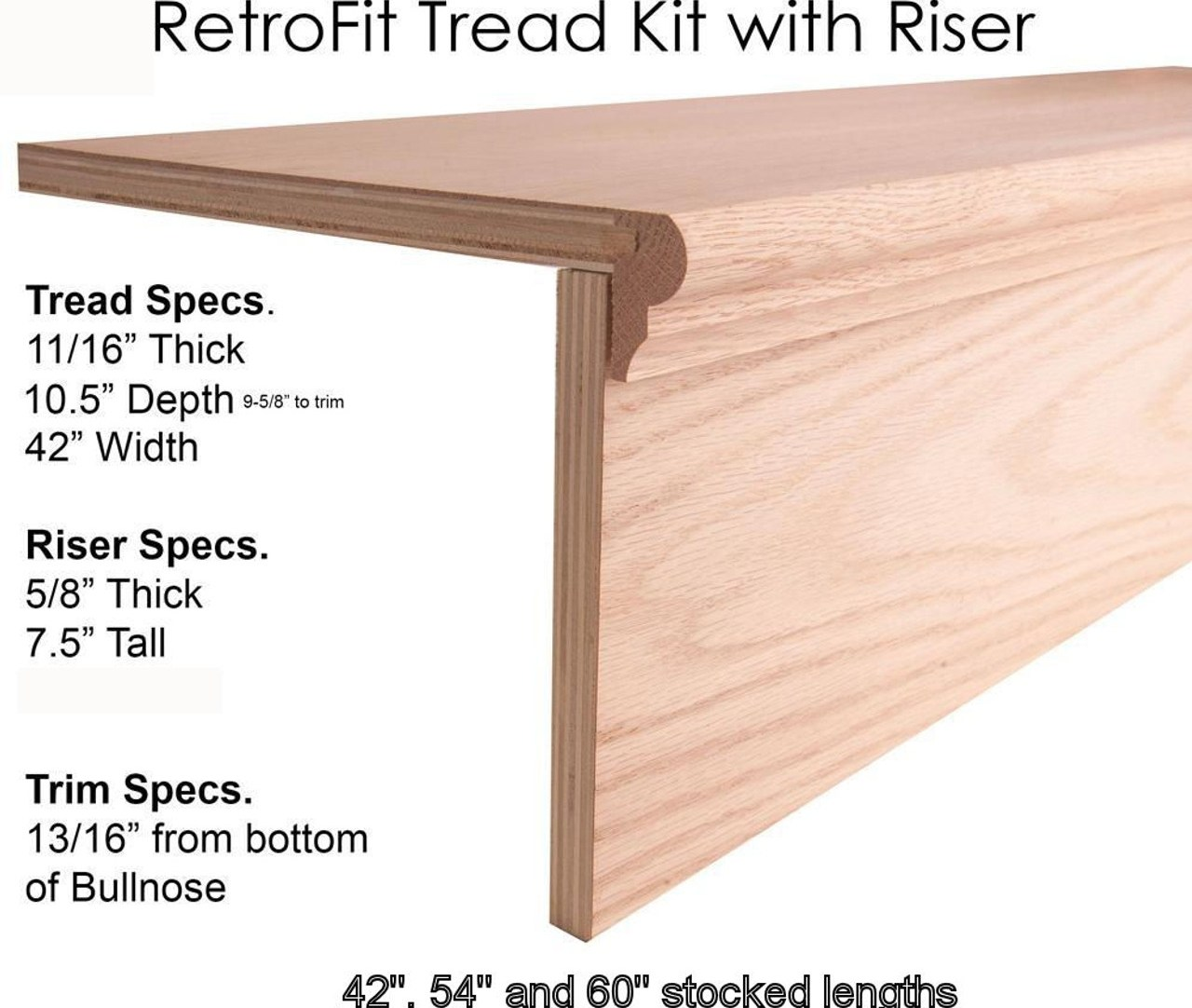 8070 Retro Treads Red Oak No Returns Westfire Stair Parts 0174   Oak Replacement Stair Treads   Stringer   Stair Stringers   Risers   Wood Stair   White Oak