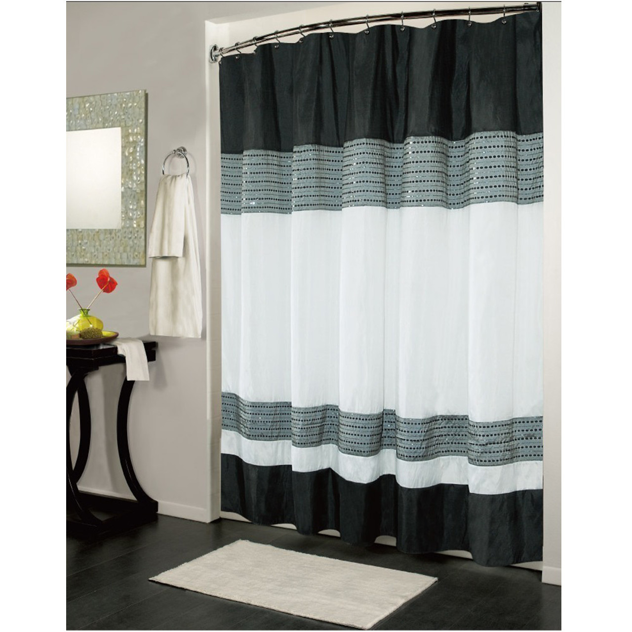 Ibiza Striped Sequin Accents Black White Shower Curtain
