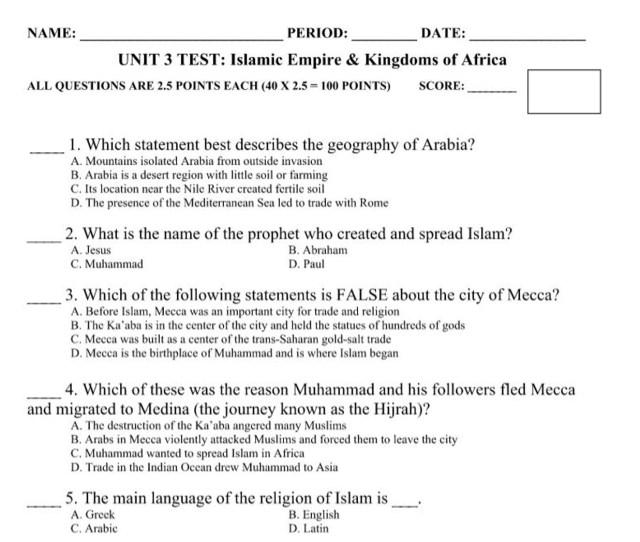 Unit  Test Islam And Kingdoms Of Africa