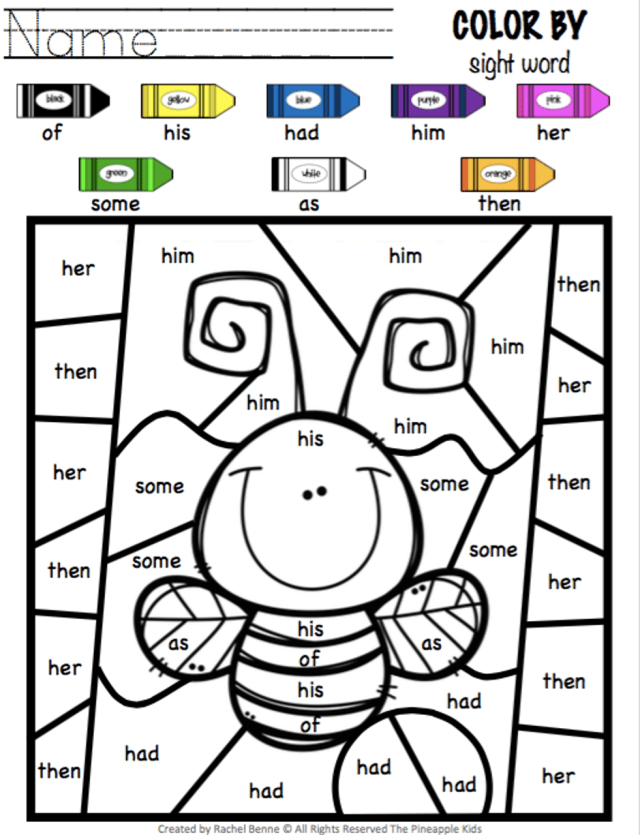 Color by Sight Word  Dolch First Grade Sight Words