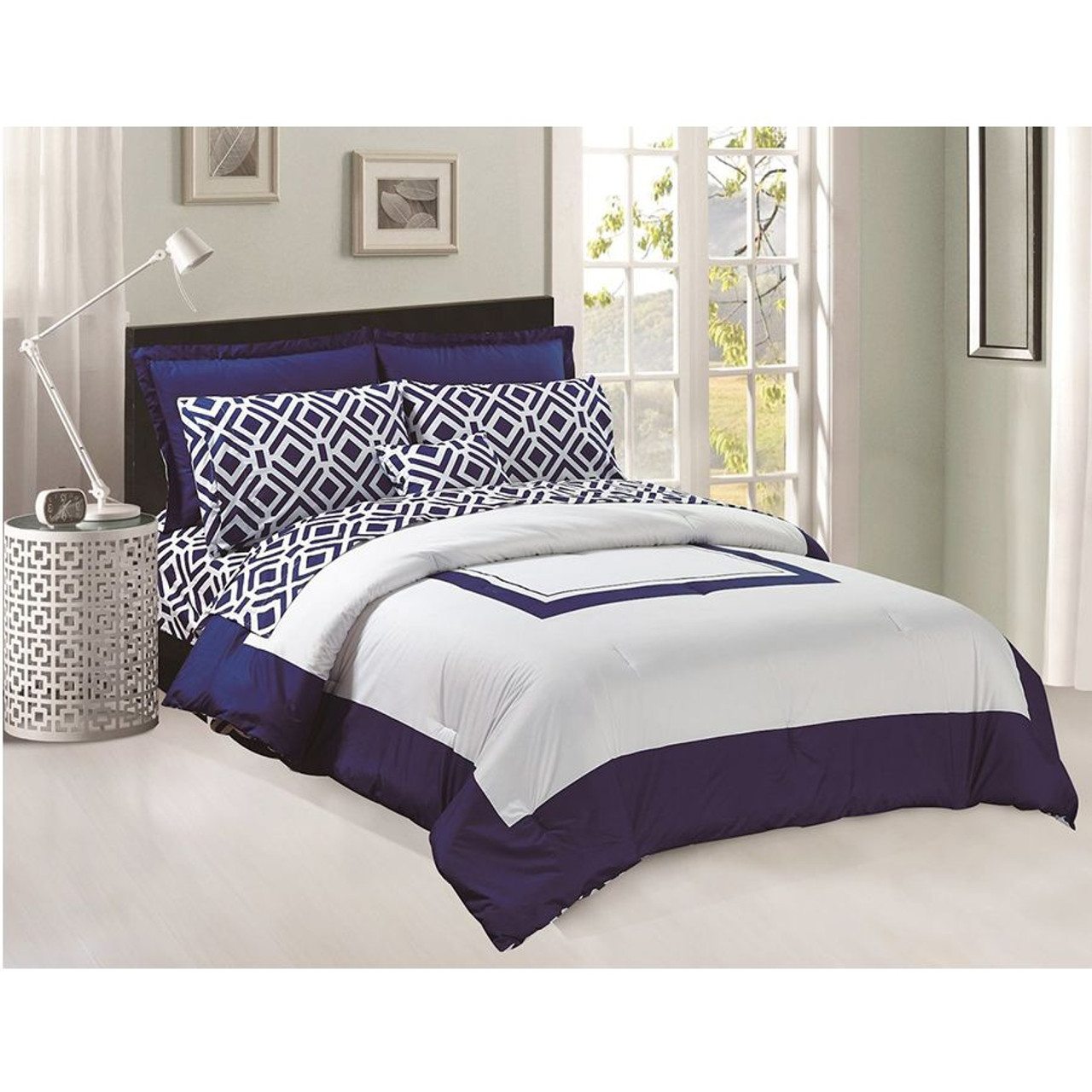 comforter flat fitted sheets set 8 pcs soft microfiber navy blue and white king size by legacy decor