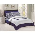 Comforter Flat Fitted Sheets Set 8 Pcs Soft Microfiber Navy Blue And White King Size By Legacy Decor Legacy Decor