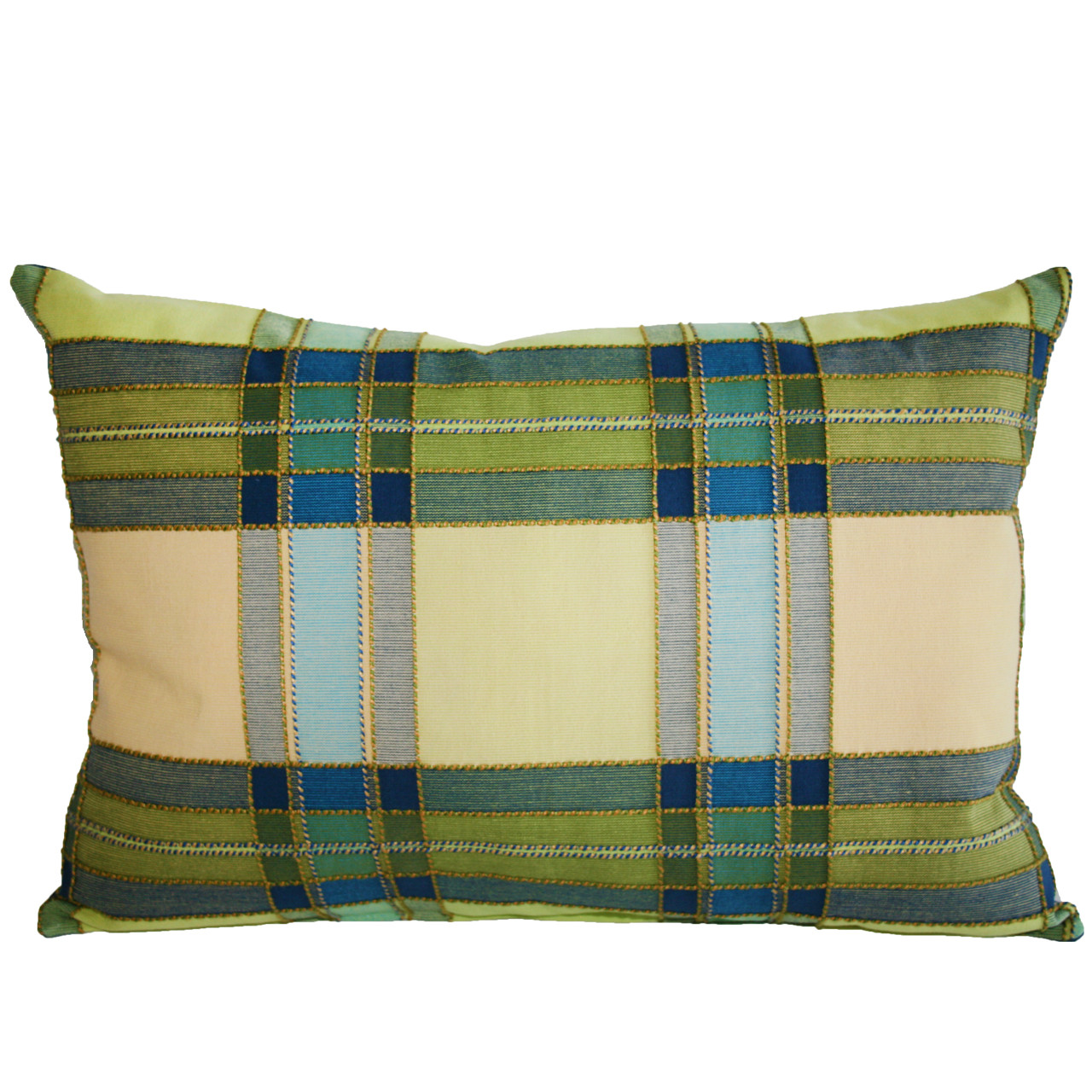 blue green taupe plaid rectangle pillow
