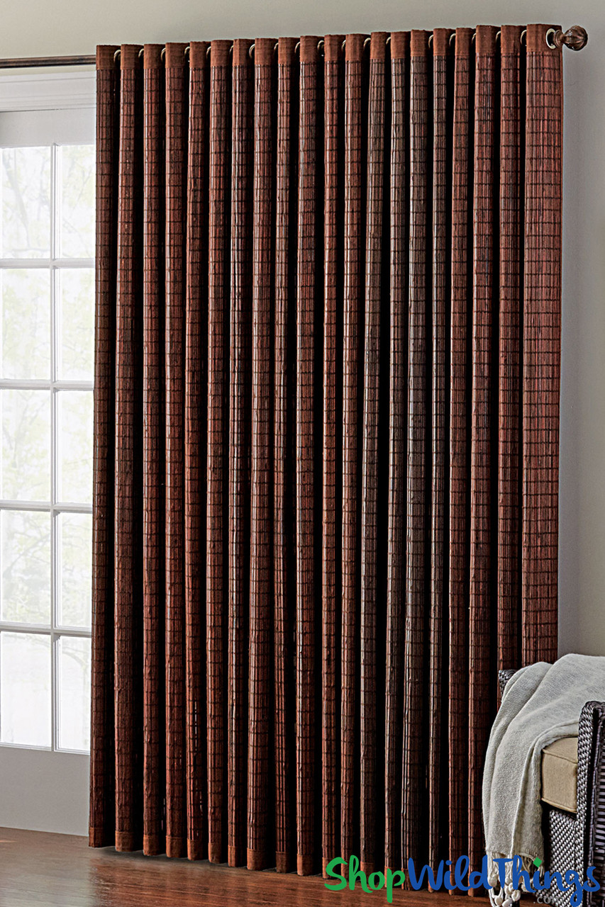 bamboo curtain w grommet top 42 w x 84 l dark mahogany brown