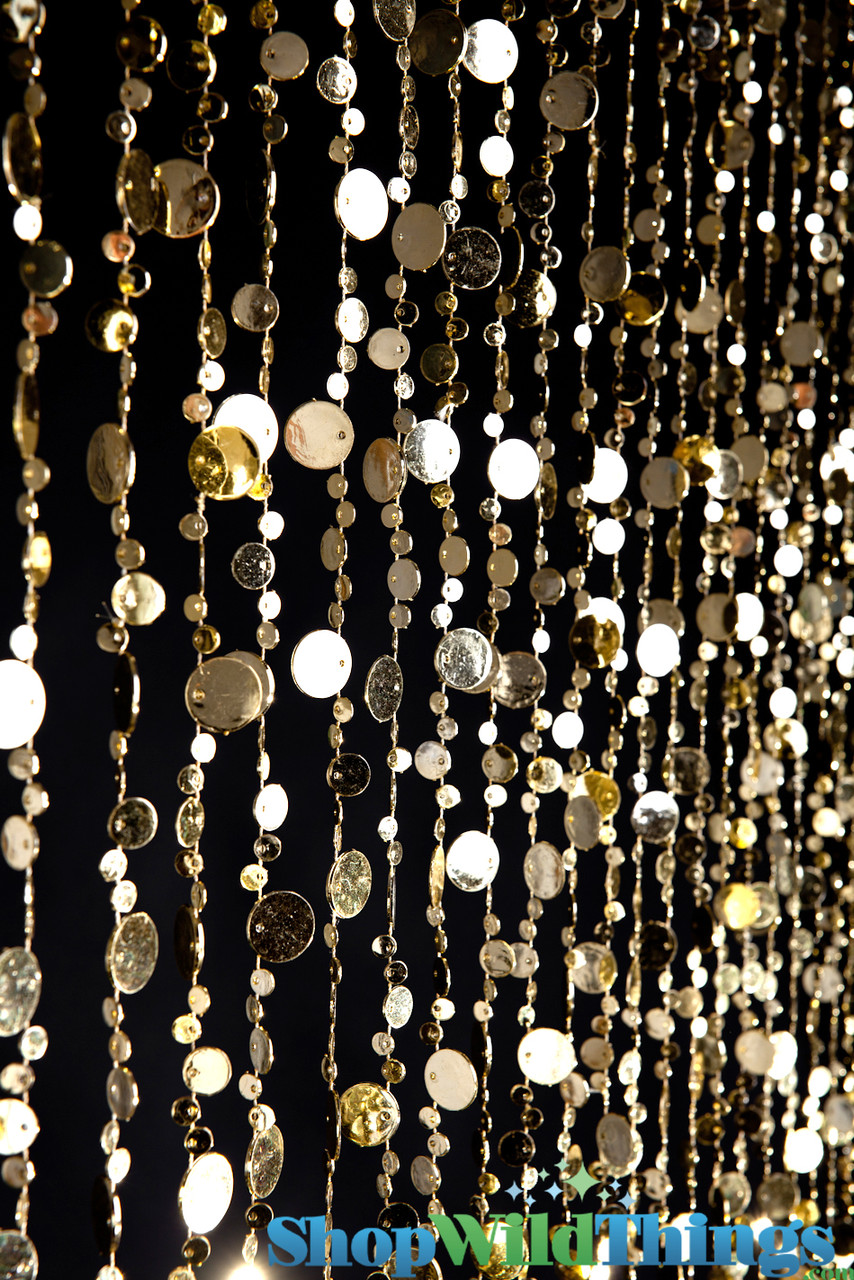coming soon bubbles beaded curtain gold 3 ft x 6 ft