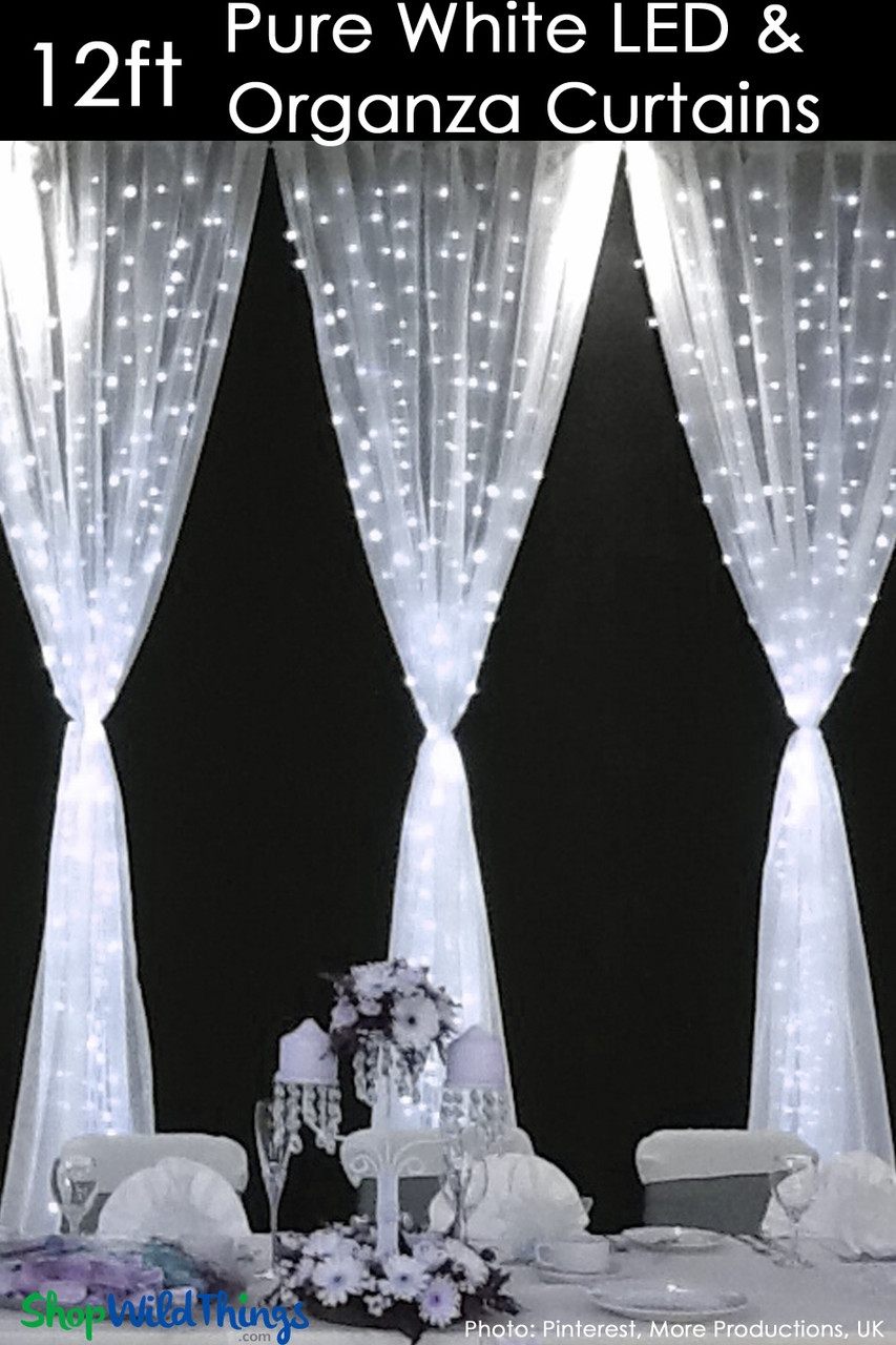 led organza curtain 288 lights 3 x 12 pure white fabric included