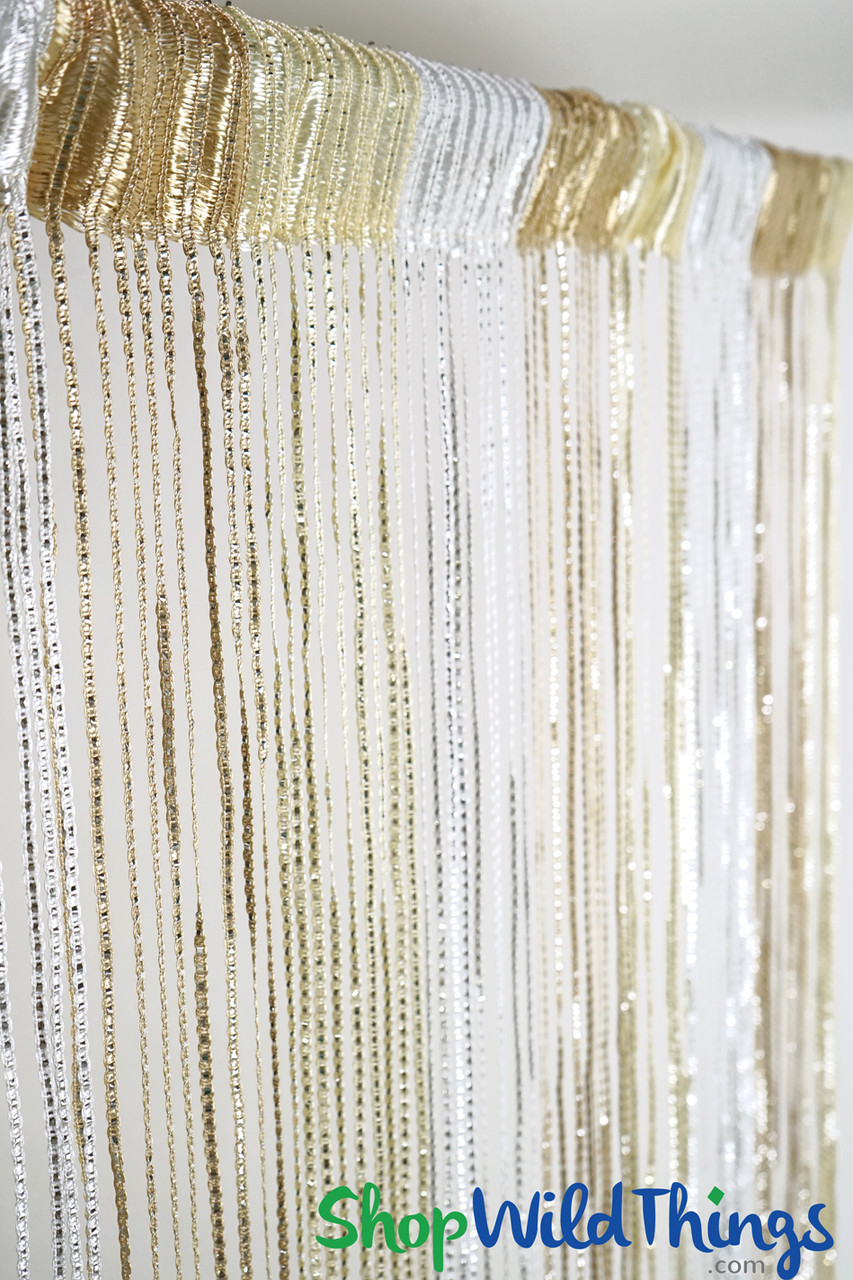 string curtains sparkle white ivory tan mix w tension rod