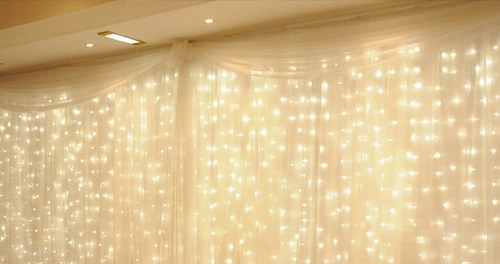 led light curtain 300 warm white lights 10 strands ul listed 8 modes 6 6 w x 9 8 l fabric optional