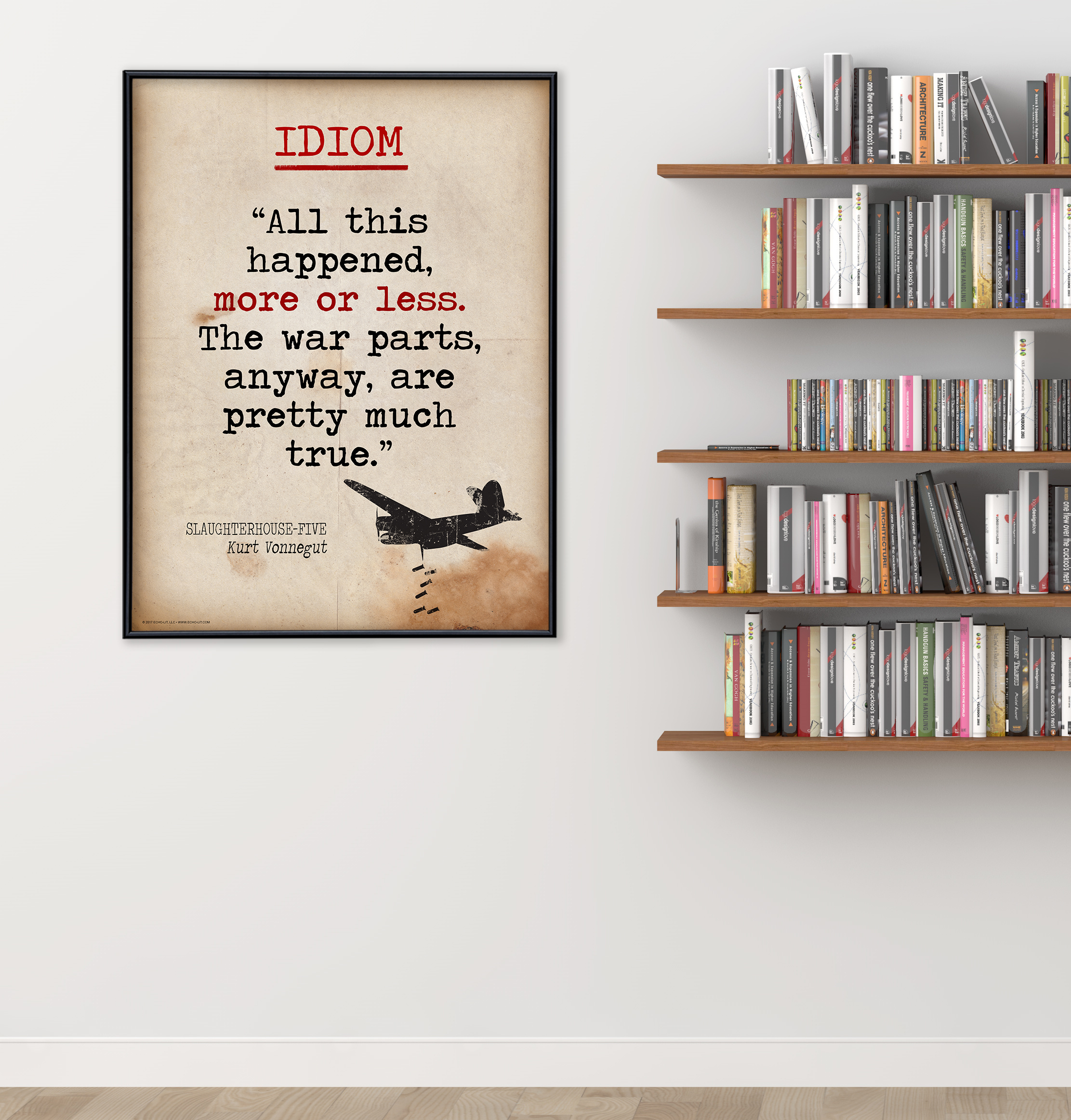 idiom educational poster featuring kurt vonnegut quote vintage style literary term classroom poster