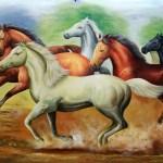 Buy 7 Running Horses Painting Handmade Painting By Kuldeep Singh Code Art 6706 39665 Paintings For Sale Online In India