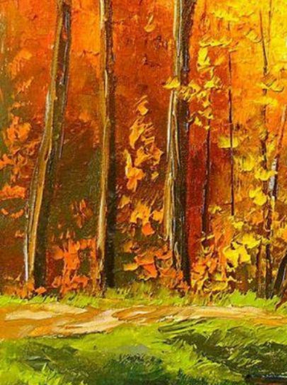 Leaf image brown wooden bridge in forest painting image nature,. Buy Red Forest Trees Painting Handmade Painting By Narendra Panchal Code Art 4772 49496 Paintings For Sale Online In India