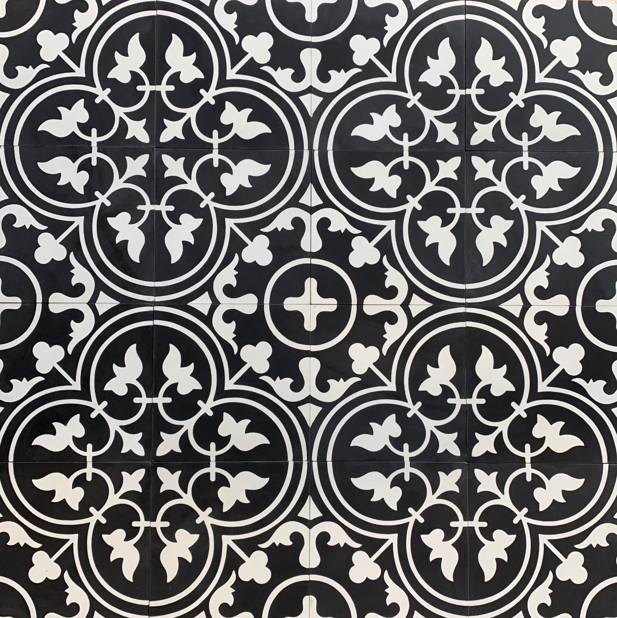 https www tiles4less com au tulip white on black encaustic tile 200mm