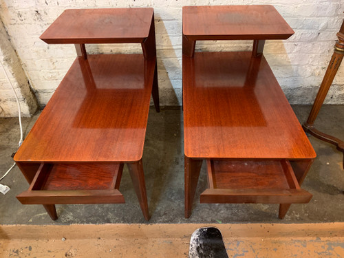 mid century modern sterling two tier step side end tables with drawer pair