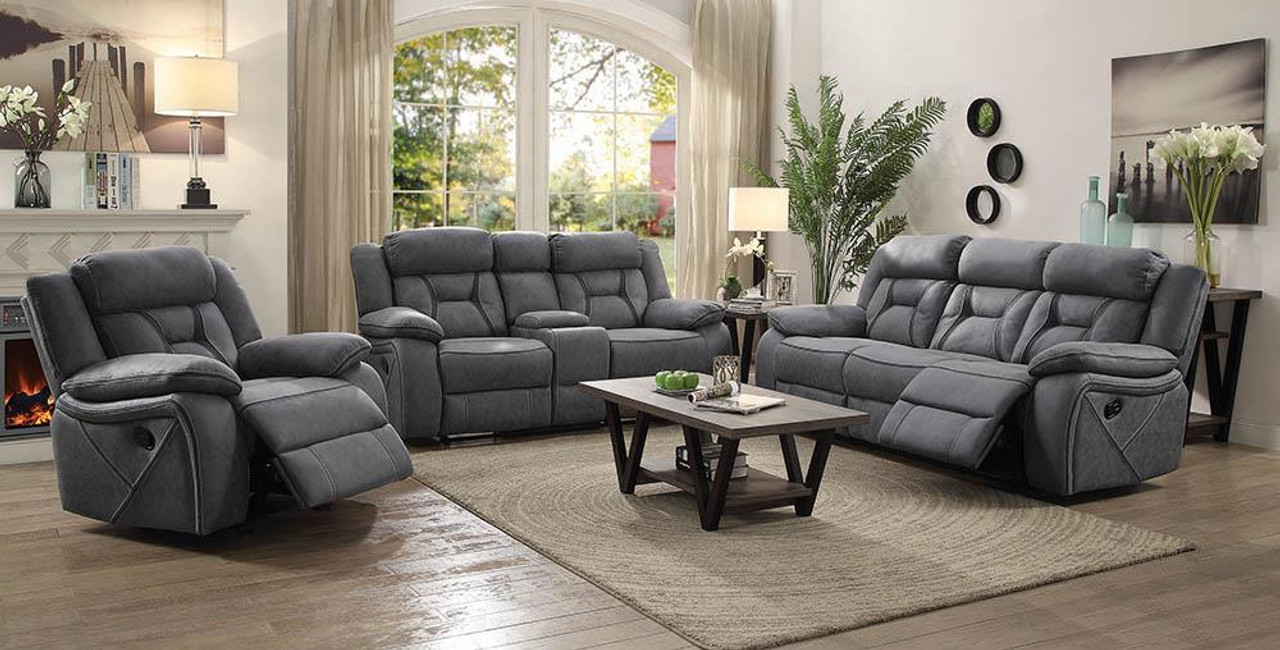 higgins motion collection grey higgins pillow top arm motion loveseat with console grey 602262