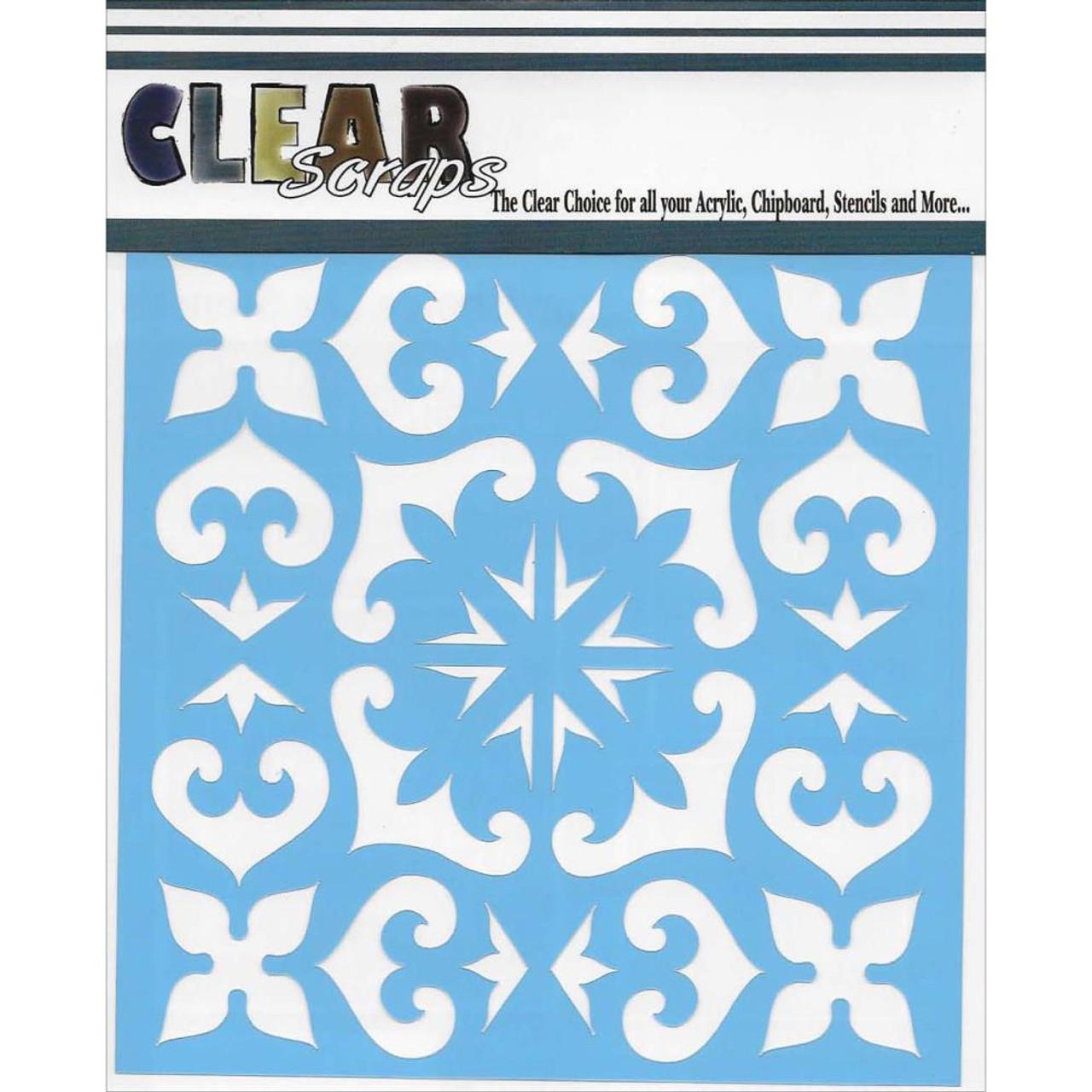 clearscraps 6x6 stencil mexican tile