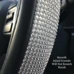 Crystal Steering Wheel Cover W Bling Ring Emblem Bling Car Decor
