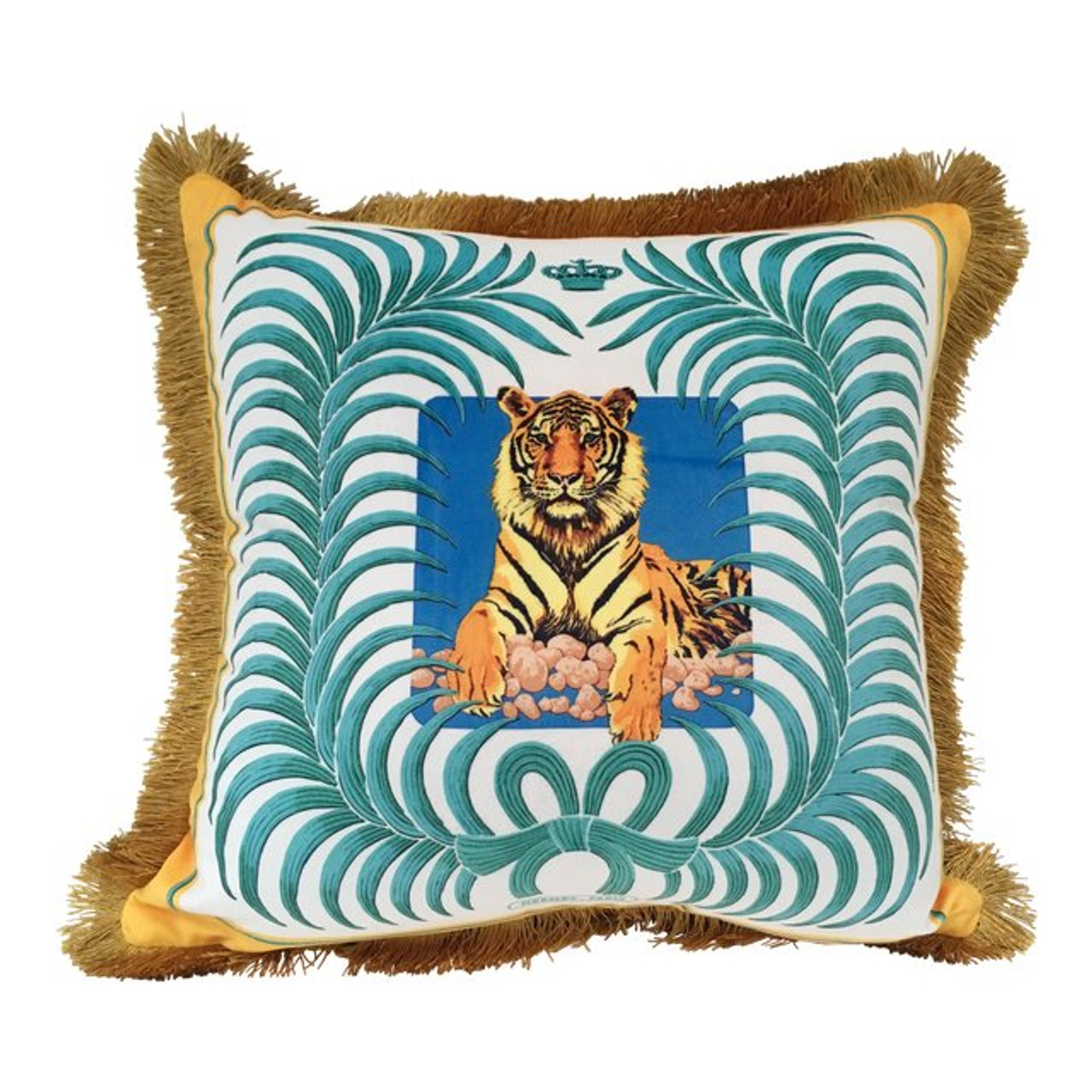 tiger and palm leaf pillow cover