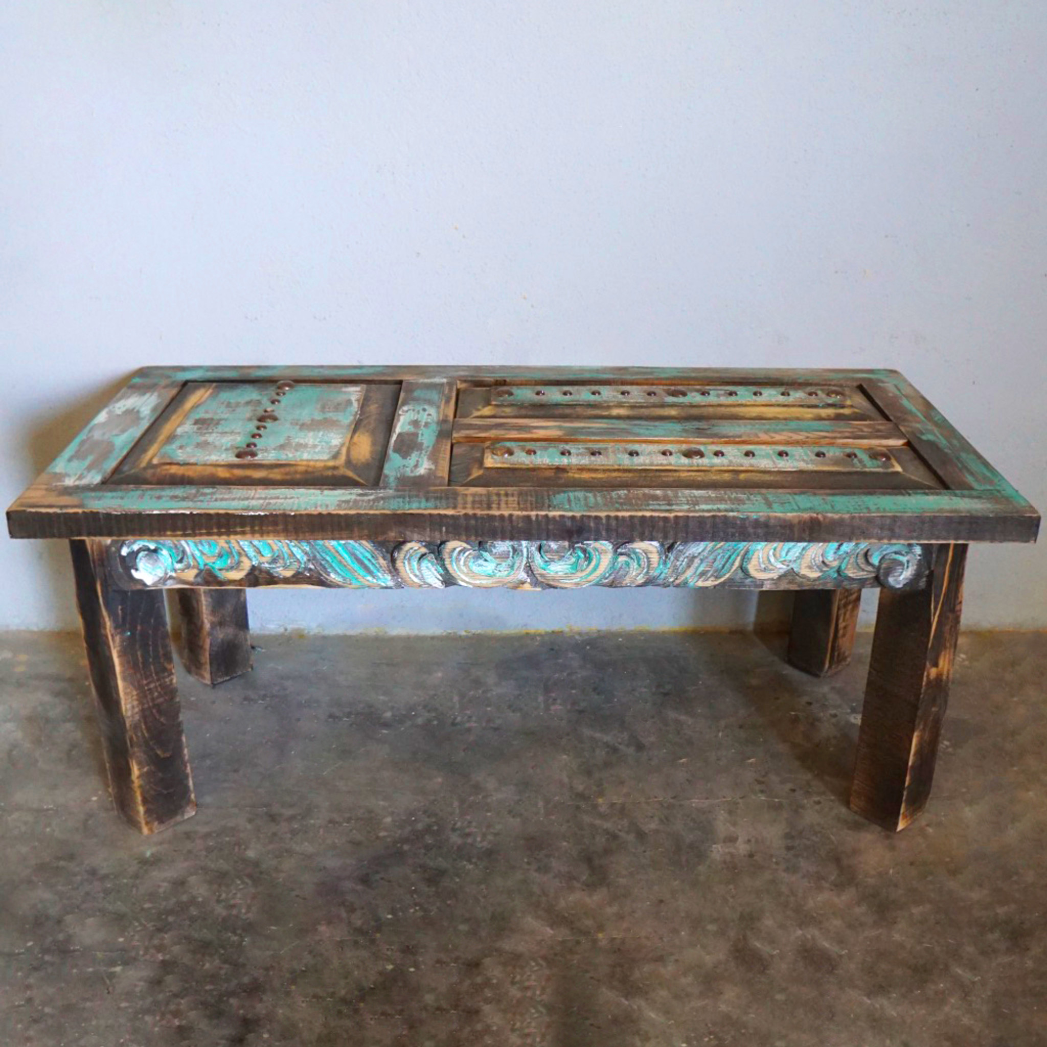 old door hand carved coffee table
