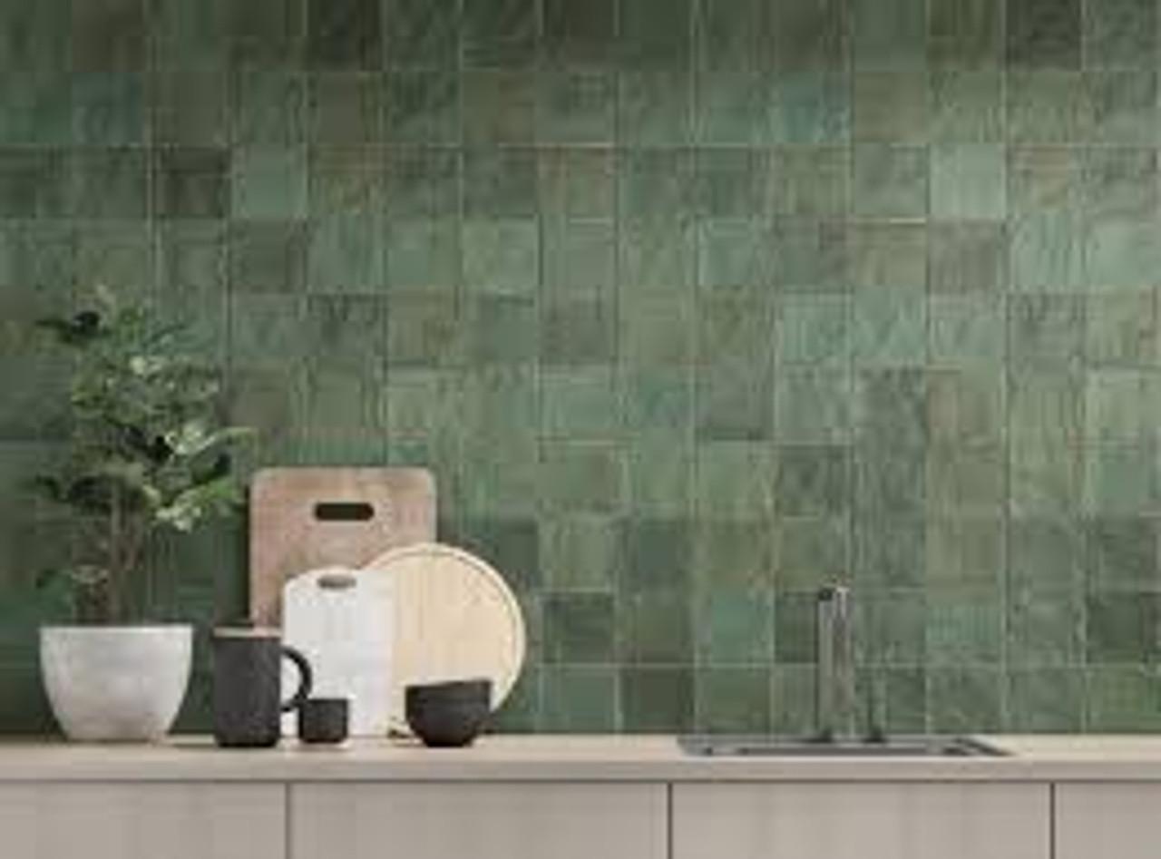 trinity green matte 4x4 ceramic wall
