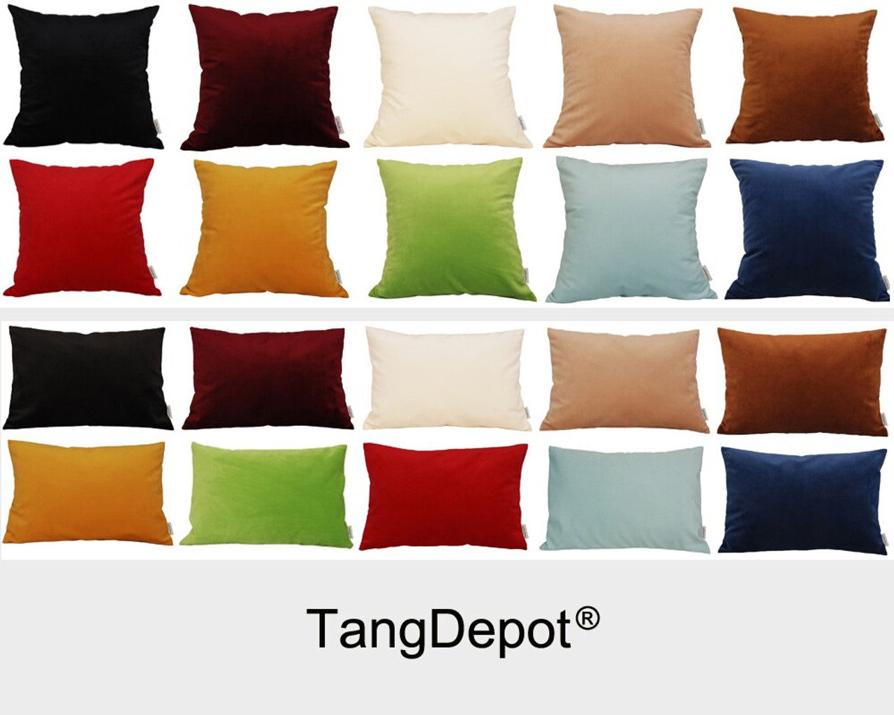 tangdepot solid velvet throw pillow cover euro sham cushion sham super luxury soft pillow cases many color size options