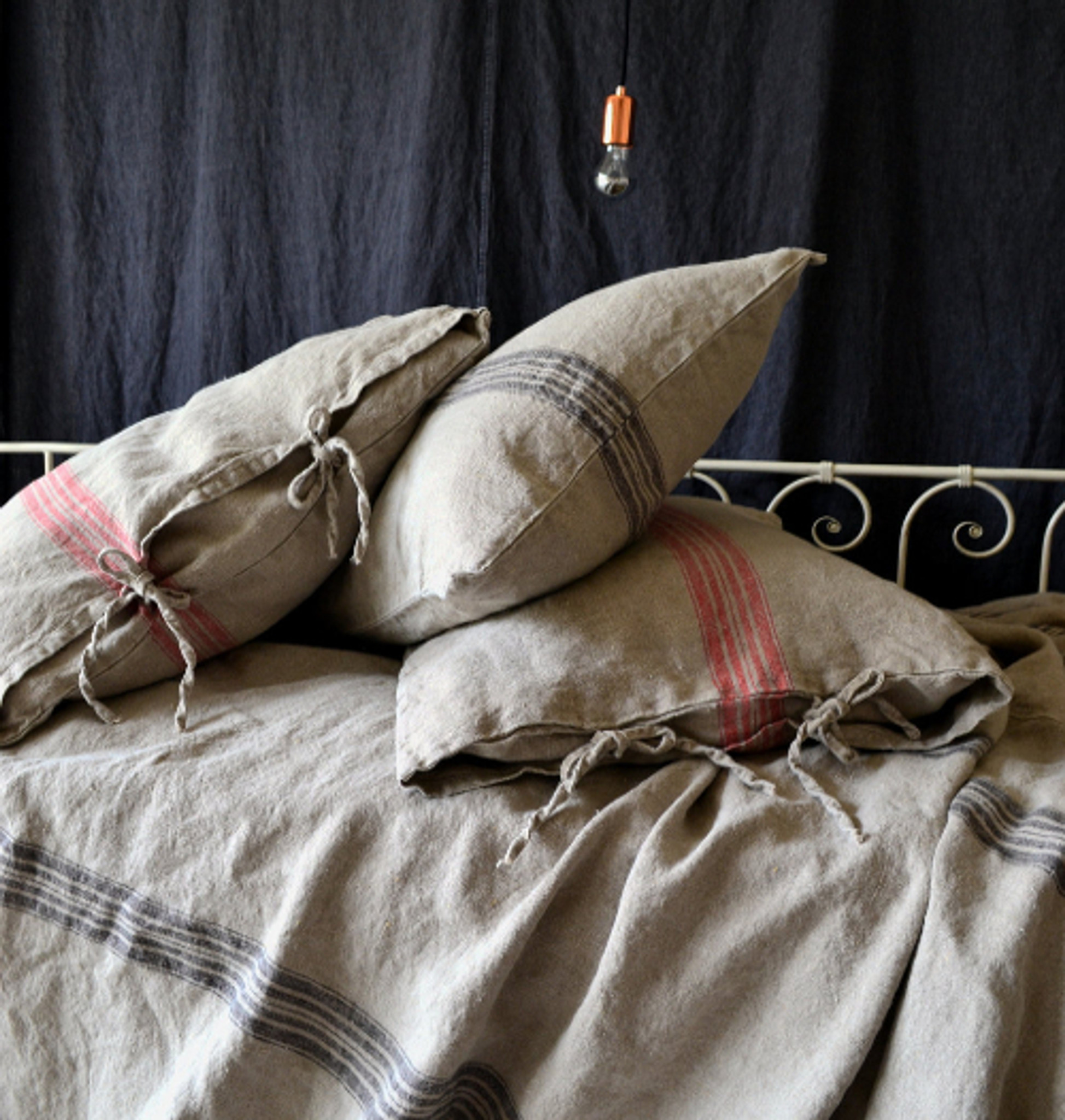 grainsack black stripe heavy linen pillowcase all sizes