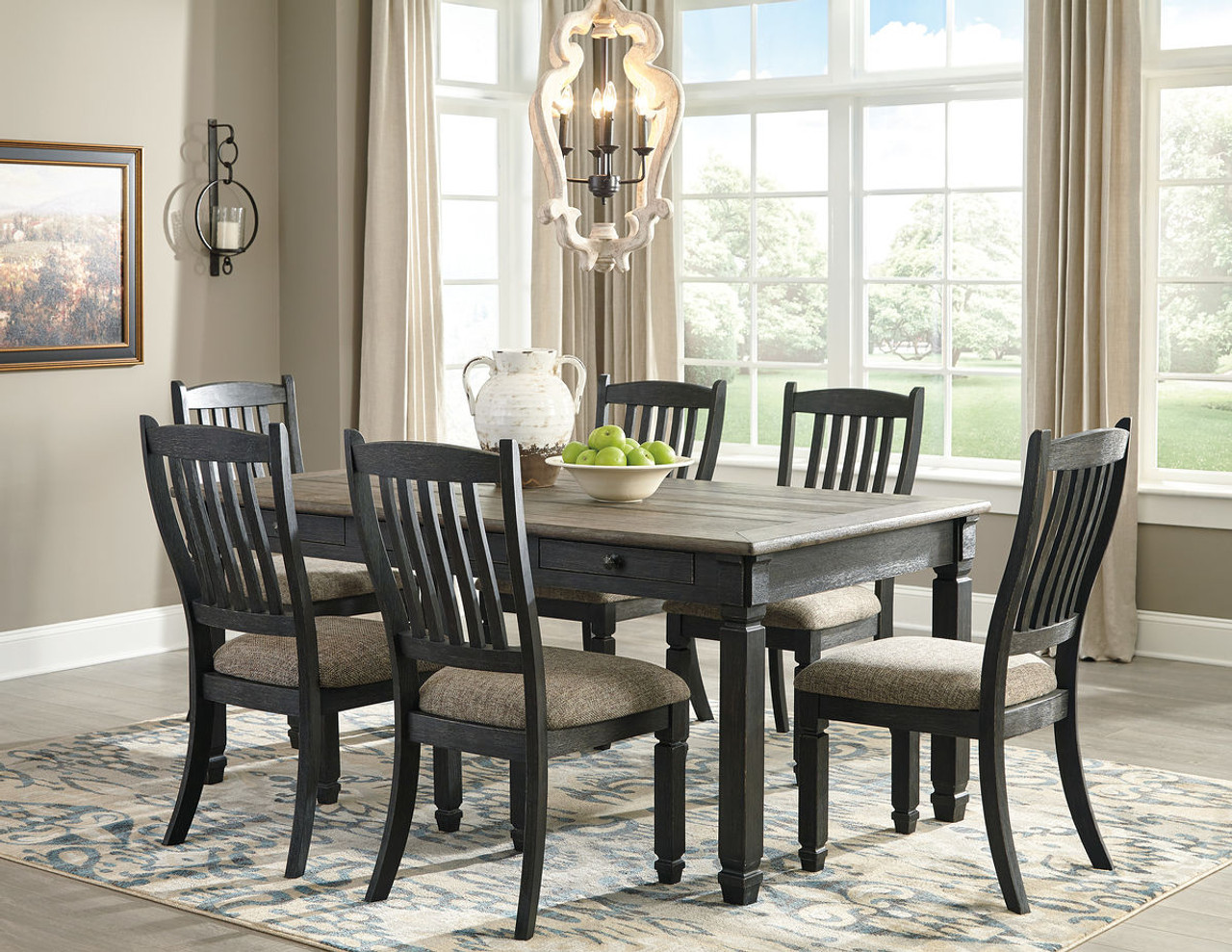 Ashley Tyler Creek Black Gray 7 Pc Rectangular Dining Room Table 6 Uph Side Chairs On Sale At Red Shed Furniture Serving Goldsboro Wilson Greenville Nc