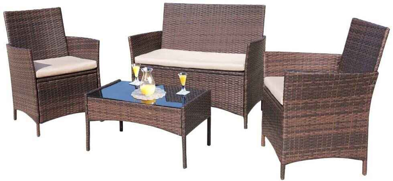 4 pieces outdoor patio furniture sets rattan chair wicker set outdoor indoor use backyard porch garden poolside balcony furniture