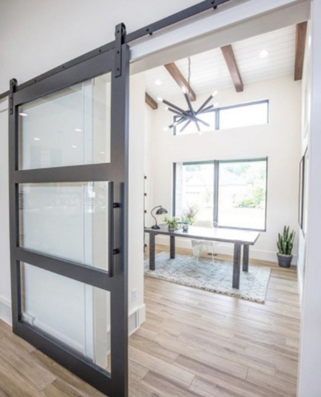 three panel glass sliding barn door