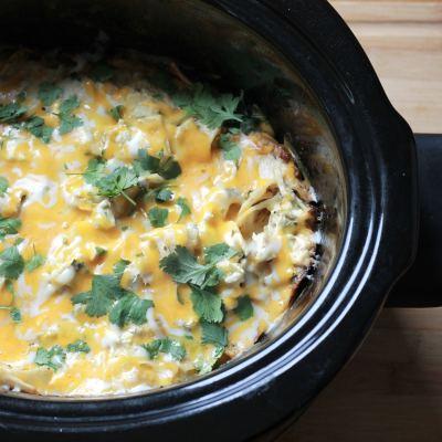 Slow Cooker Sour Cream Enchilada Casserole