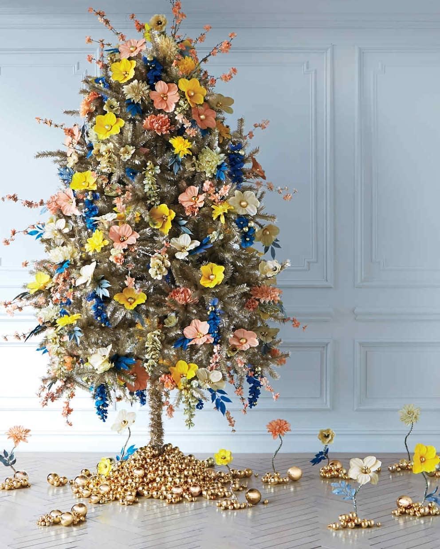 arboles de navidad 2020 tendencias arboles con flores