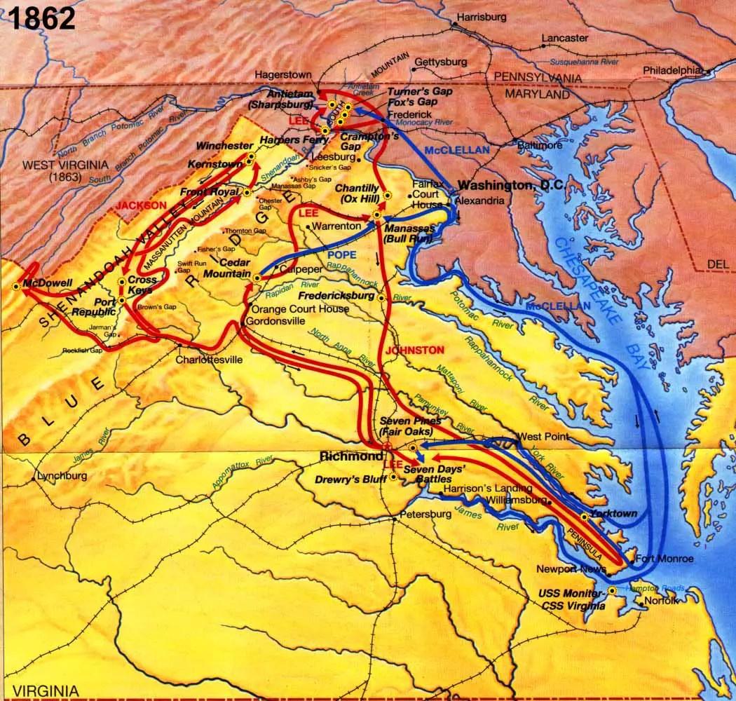 American Civil War All States Map Of Battles