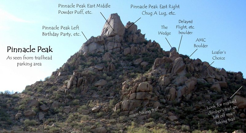 It's one of the highest peaks among the 25 named peaks in this range, at 6,562 feet. Pinnacle Peak As Seen From The Trailhead Parking Area