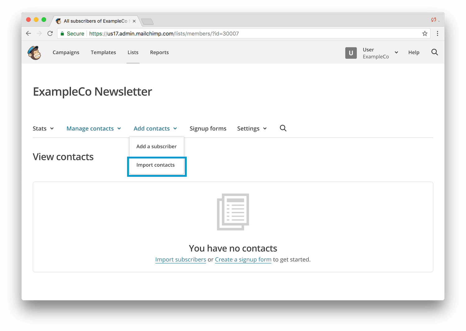 Export User Data To Mailchimp