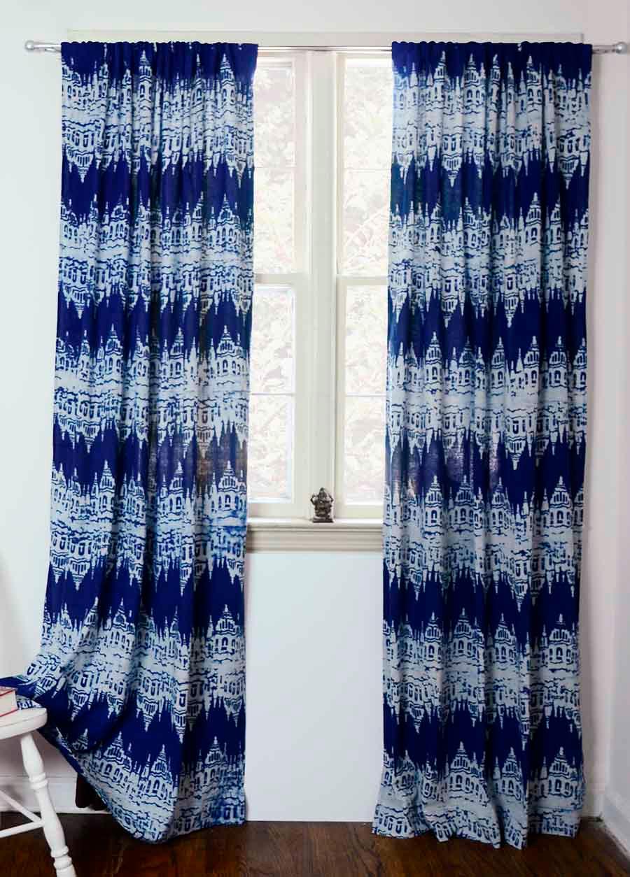 Navy Blue IKAT Curtains Printed Ikat Curtains Ichcha