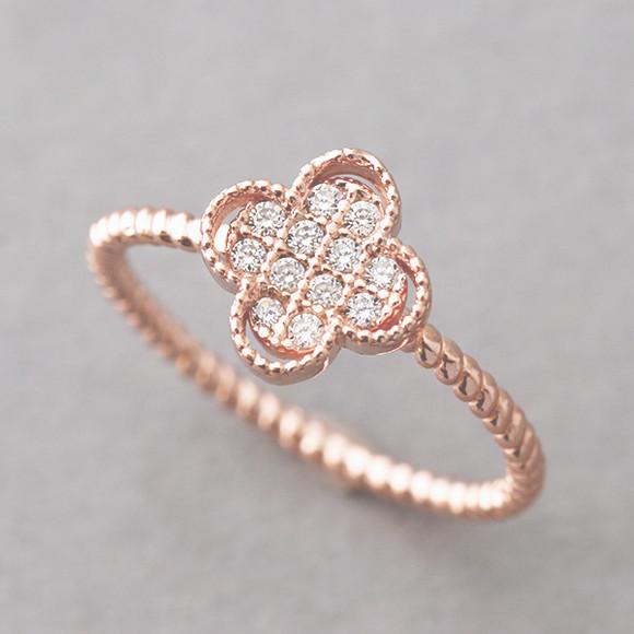 CZ Rose Gold 4 Leaf Clover Ring Sterling Silver