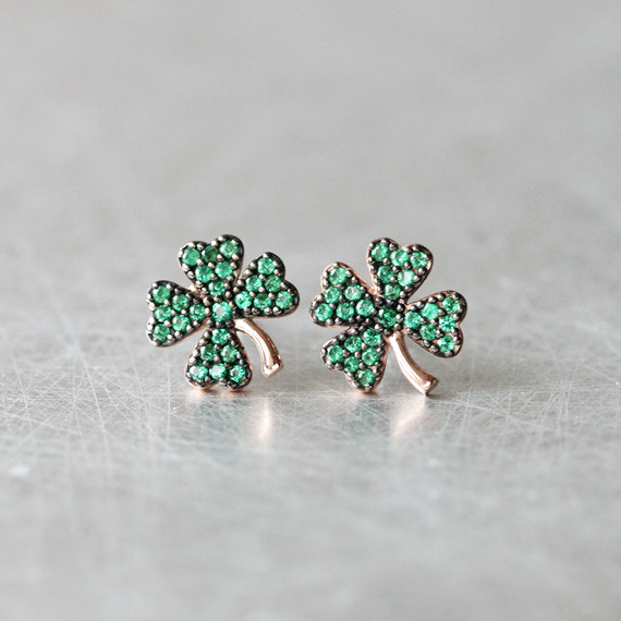 Emerald Green Four Leaf Clover Stud Earrings Rose Gold