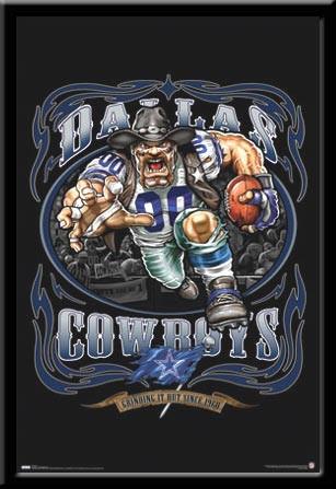 Dallas Cowboys Vintage NFL Poster Grinding It Out Framed