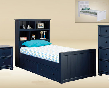 Stratford Navy Blue Twin Size Captains Bed Bookcase Bed