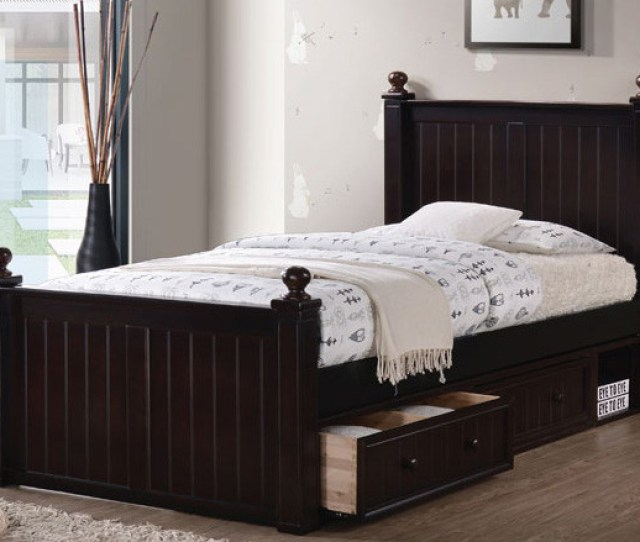 Dillon Extra Long Wood Bead Board Bed Xl Twin Size Frame With Storage Drawers