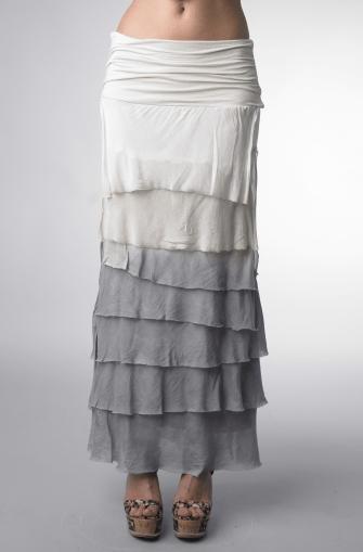 Tempo Paris Silk Maxi Skirt Dip Dye Gray Shop Boutique Flirt