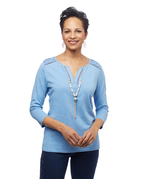 Lace Yoke Y Neck Tee   Northern Reflections Women s blue tee with y neck and lace yoke